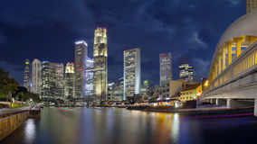 Singapore Skyline from Boat Quay. Singapore Central Business District (CBD) City Skyline Along Boat Quay at Blue Hour Panorama Royalty Free Stock Images