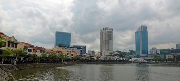 Singapore Skyline From Boat Quay Stock Photos