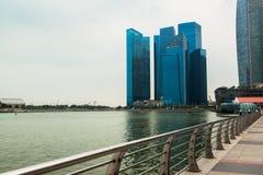 Singapore skyline of business district and Marina Bay Stock Photos