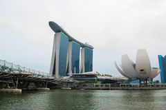 Singapore skyline of business district and Marina Bay Stock Images