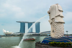 Singapore skyline of business district and Marina Bay Royalty Free Stock Photos