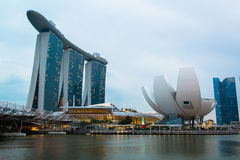 Singapore skyline of business district and Marina Bay Stock Photos