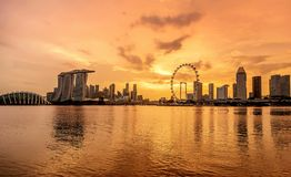 Singapore skyline business district, Marina Bay Sand and the Ga. Rden by the Bay at sundown stock photos
