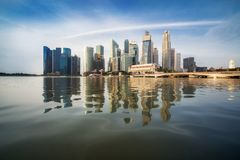 Singapore Skyline at Sunrise at Marina Bay. Singapore skyline at central business district, CBD blue sky and morning sunrise cityscape at marina bay Royalty Free Stock Photography