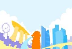 Singapore Skyline City Skyscraper Silhouette Flat. Colorful Vector Illustration Stock Photo