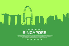 Singapore Skyline City Skyscraper Silhouette Flat Royalty Free Stock Photography