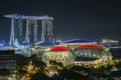 Singapore Skyline and Cityscape at night Stock Photography