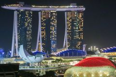 Singapore Skyline and Cityscape at night Royalty Free Stock Photos