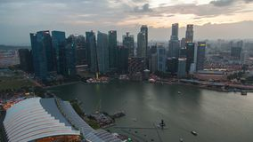 Singapore Skyline Cityscape sunset timelapse. 4k stock video footage