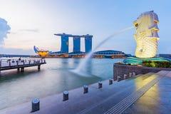 Singapore skyline cityscape at twilight Royalty Free Stock Photos