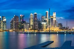 Singapore skyline cityscape at twilight at Marina Bay.  Royalty Free Stock Photo