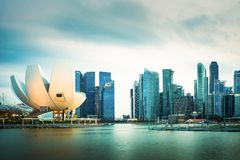 Singapore skyline cityscape at twilight at Marina Bay.  Stock Photography