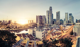 Singapore skyline. And classic buildings at sunrise Royalty Free Stock Images