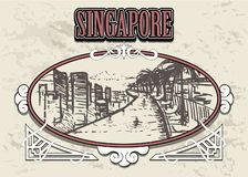 Singapore skyline in a decorative vintage frame, retro hand drawn Singapore landescape. View from Marina Bay Sands hotel vector illustration