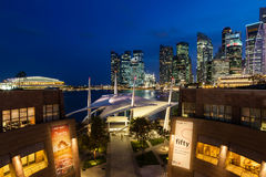 Singapore Skyline at Dusk on the Esplanade Royalty Free Stock Images