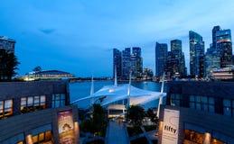 Singapore Skyline at Dusk on the Esplanade Stock Photo