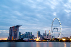 Singapore Skyline at dusk. Stock Photos