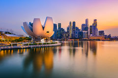 Singapore Skyline at Dusk. Singapore skyline at the Marina during twilight Royalty Free Stock Photos