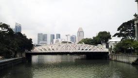 Singapore Skyline by Elgin Bridge Along River Royalty Free Stock Images