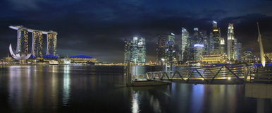 Singapore Skyline by the Esplanade Panorama Royalty Free Stock Photo