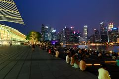 Singapore Skyline in the evening Stock Photo