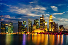 Singapore skyline in evening Royalty Free Stock Photos