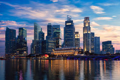 Singapore skyline in evening Royalty Free Stock Images