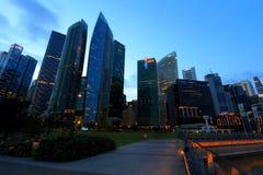 Singapore Skyline in the evening Stock Photo