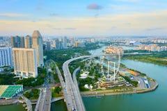 Singapore skyline, Ferries Wheel, aerial Stock Photos