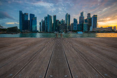 Singapore skyline and Financial Building with river at Marina Ba Stock Photography