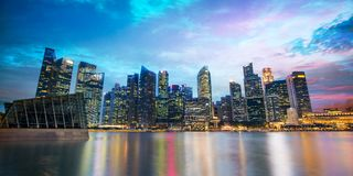 Singapore skyline of the financial district by night. Blue hour Royalty Free Stock Images