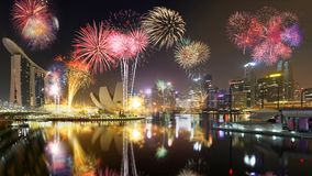 Singapore skyline and fireworks