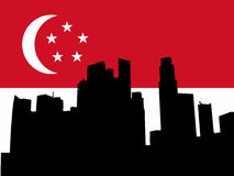 Singapore Skyline with flag Stock Photo