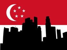 Singapore Skyline with flag Stock Photo