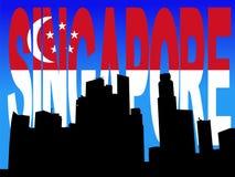 Singapore Skyline with flag Stock Image