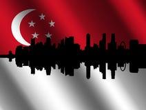 Singapore skyline with flag Royalty Free Stock Photos