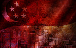 Singapore Skyline and Flag Grunge Background Stock Photo