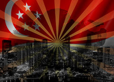 Singapore Skyline with Flag and Map Stock Photo