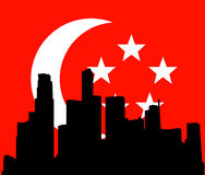 Singapore skyline with flag vector Royalty Free Stock Image