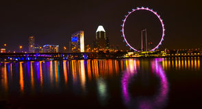 Singapore skyline and flyer. Beautiful singapore skyline at night Stock Images