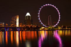 Singapore skyline and flyer. Beautiful singapore skyline at night Royalty Free Stock Images