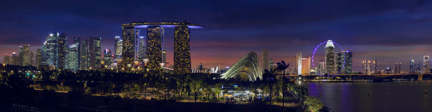 Singapore Skyline with Gardens by the Bay at Dusk Panorama Stock Photography