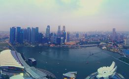 Singapore skyline and harbor Stock Photography