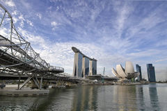Singapore Skyline with Helix Bridge Stock Images