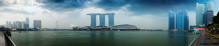 Singapore skyline - hotels and offices with reflection panorama royalty free stock photography