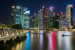 Singapore skyline and illuminated financial district Stock Images