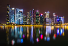 Singapore skyline and illuminated financial district Royalty Free Stock Photo