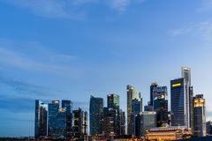 Singapore skyline and illuminated financial district night view, Stock Photos
