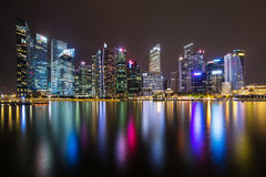 Singapore skyline and illuminated financial district night view Royalty Free Stock Image
