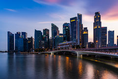 Singapore skyline and illuminated financial district night view, Royalty Free Stock Photography